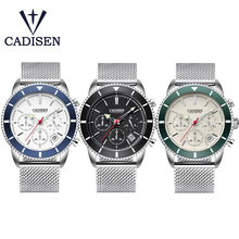 CADISEN שעון Mens שעונים למעלה מותג יוקרה עמיד למים קוורץ ספורט שעוני יד נירוסטה תאריך אופנה מקרית שעונים גברים