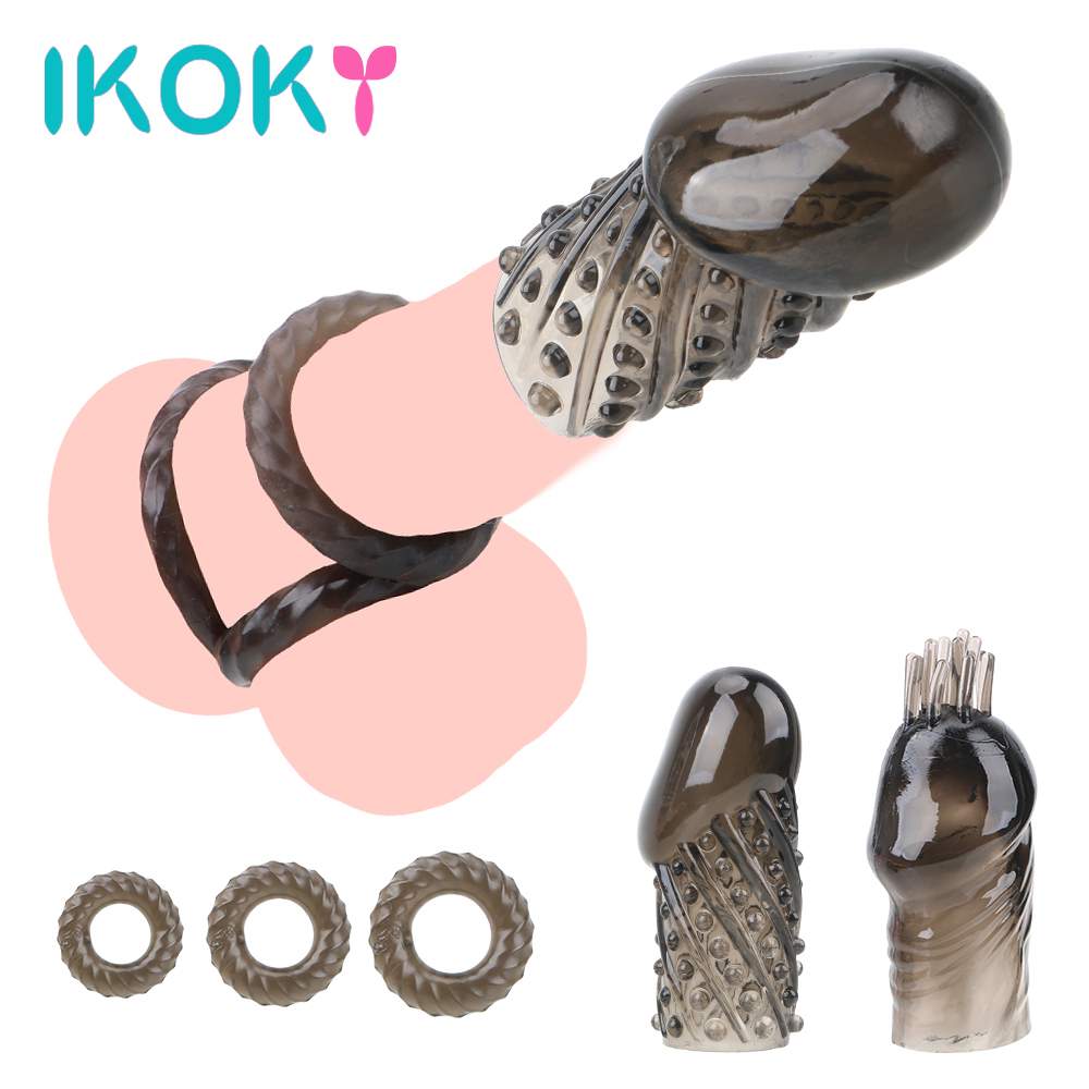 IKOKY 5pcs/set Cock Rings Sex Toys For Men Time Delay Ejaculation Penis Ring Dick Extensions Condom Adult Products Penis Sleeve