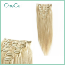 Straight Full Head Clip In Hair Extensions Machine Made 100% Remy Brazilian Human Hair Natural Pure Color Clip Ins Hairpiece