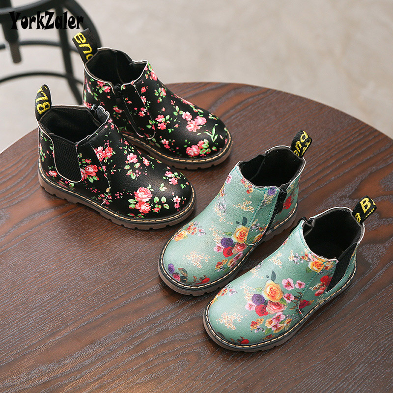Yorkzaler Spring Autumn Kids Boots For Girls High Quality Printed Flowers Children Shoes Artificial Leather Casual Girl Shoes