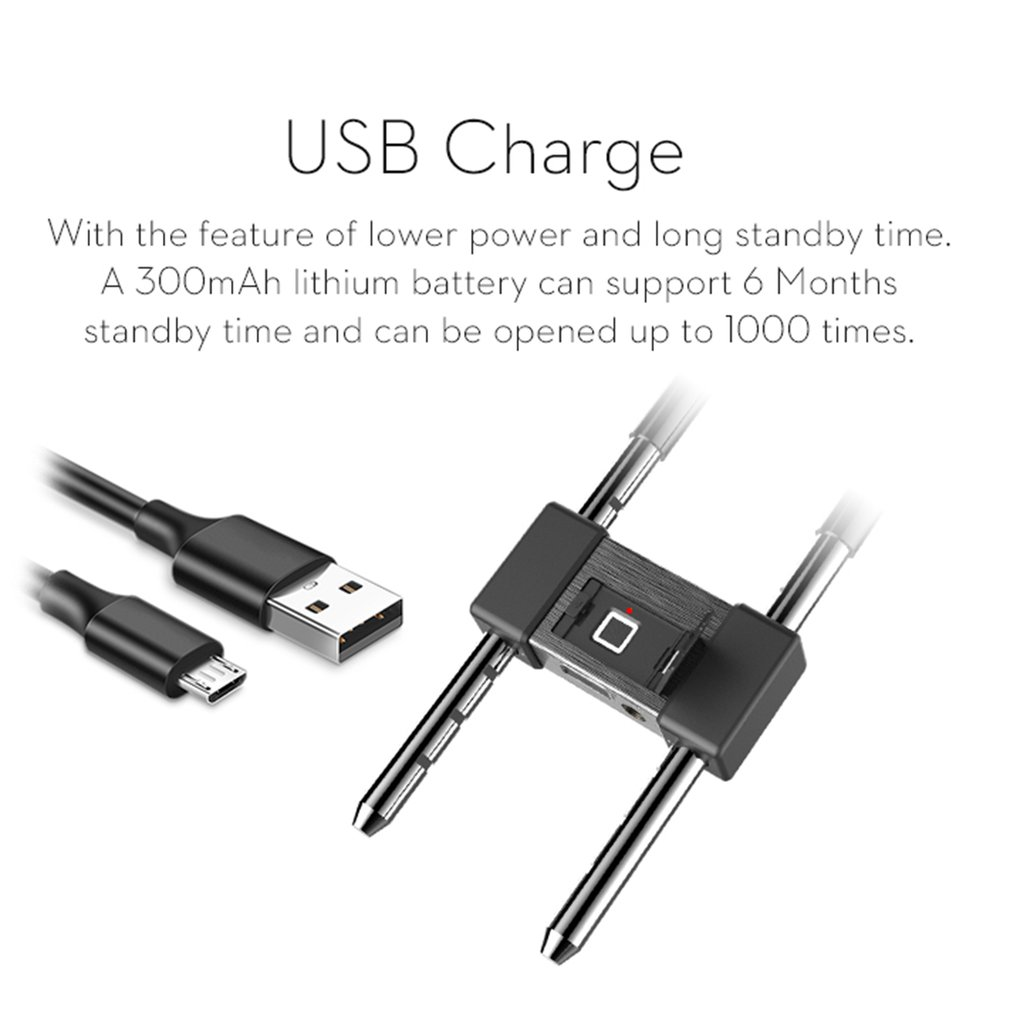Smart USB Charge Fingerprint Lock L12 U Shape Lock Super CPU Waterproof IP65 Anti-Theft Security Padlock Door Bicycle Lock