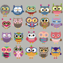 Cartoon Patch Garment Diy A-Level Washable Stripe Thermal Transfer Badges Cute Owls Set Patches Stickers Easy Printing