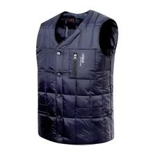 цена на White Duck Down Jacket Vest Men Autumn Winter Warm Sleeveless V-neck Button Down Lightweight Waistcoat Fashion Casual Male Vest