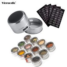 Vieruodis Magnetic Spice Jar Set With Stickers Stainless Steel Tins Storage Container Pepper Seasoning Sprays Tools