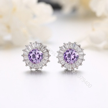 Halo Stud Earrings white gold Plated cubic zircon jewelry Hypoallergenic round CZ rainbow ruby aquamarine Earrings