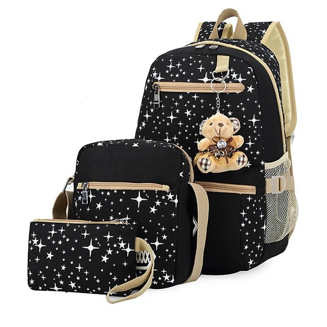3 unids/set mochilas de escuela para niñas mochilas escolares para mujeres Mochila de impresión de estrellas Mochila de viaje para mujeres mochilas Mochila