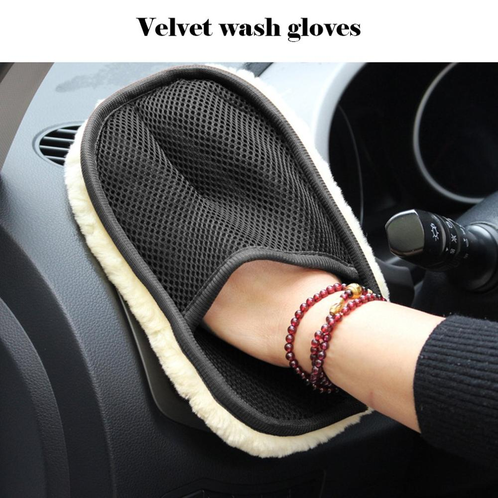 Plush Car Wash Gloves Bear Paw Car Imitation Wool Winter Cleaning Car Waxing Polishing Noodles Cleaning Gloves