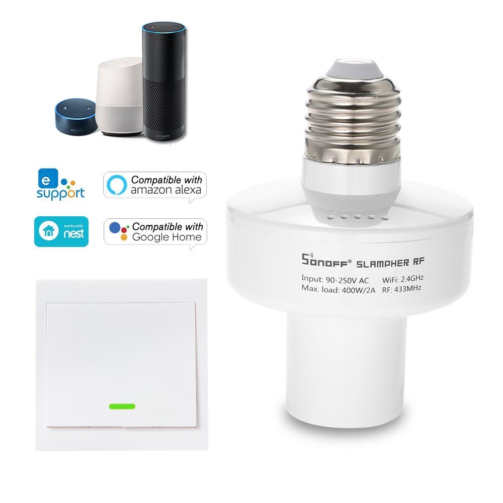 SONOFF Slampher ITEAD WiFi Smart Light Bulb Holder 433MHz RF E27 Wireless Lamp Holder Compatible With Amazon Alexa