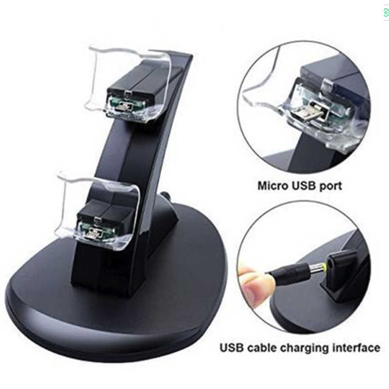 LED مايكرو المزدوج تحكم حامل شاحن 2 LED المصغّر usb مقبض سريع جهاز شحن محطة حامل شاحن ل PS4 تحكم