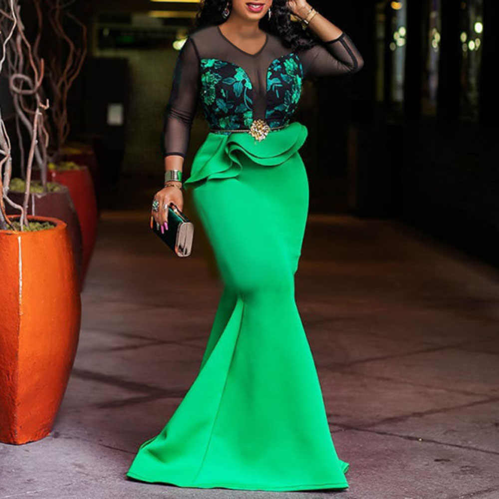 Red Green Women Long Mermaid Dresses Sexy African Party Lace Printed High Waist Vestiods Robe Elegant Trumpet Evening Dresses