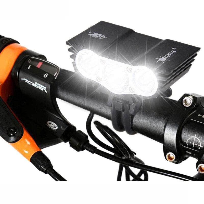 3xT6 LED Frontal de Bicicleta Luz Da Bicicleta à prova d' água Farol 4 Modos Noite Segurança Ciclismo Lamp + Bateria Recarregável + Carregador