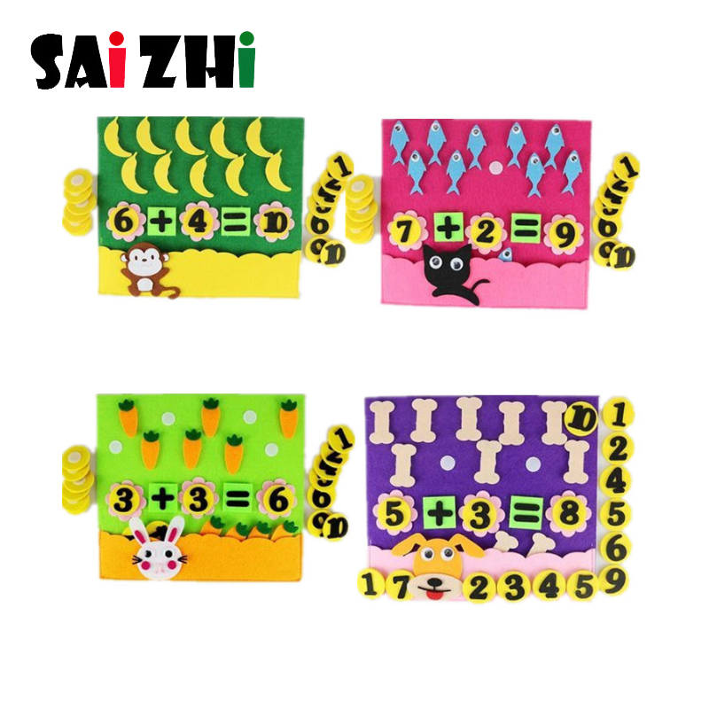 Saizhi DIY Digit Theme Felt Non-woven Craft For Kindergarten Kid Handmade Early Learning Number Fabric Material Package