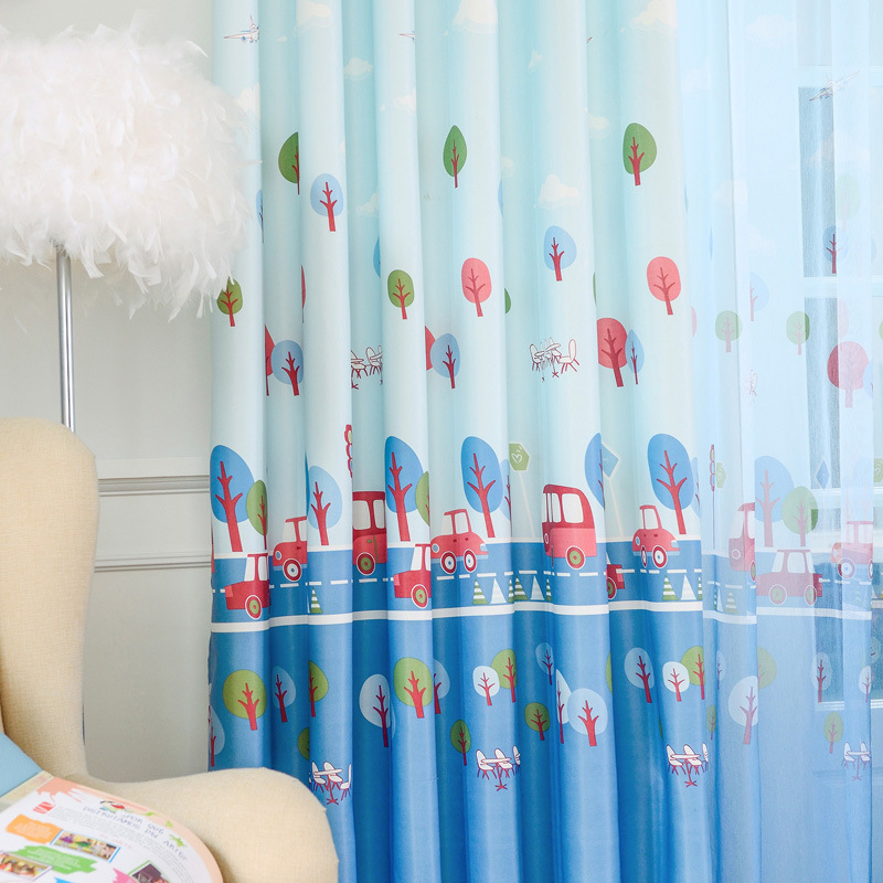 Cartoon Car Patterns Curtains For Living Dining Room Bedroom The Kindergarten Children Room Blinds