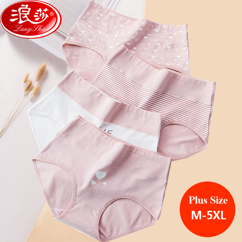LANGSHA Plus Size M-5XL Panties Women Cotton High Waist Slimming Underwear Girls Seamless Briefs Sexy Female Breathable Lingerie
