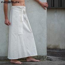 INCERUN décontracté Kilt samouraï pantalon hommes jupes longues Arts martiaux Style Kendo jupes hommes solide Vintage militaire vêtements