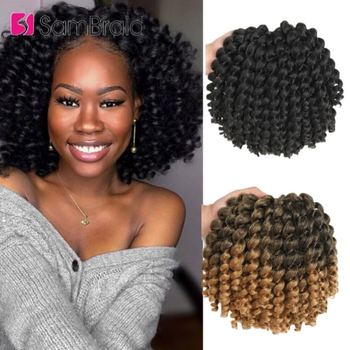 SAMBRAID Crochet Braids Jamaican Bounce Ombre Hair Synthetic Extensions Wand Curl Braiding - discount item  45% OFF Synthetic Hair