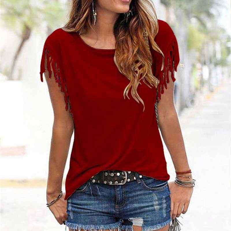 Solido O-Collo Della Nappa delle Donne Del Manicotto Del Bicchierino T-Shirt Bianco Nero Rosso Allentato T-Shirt Donna 2020 Primavera Estate Chic Tshirt Magliette e camicette delle donne