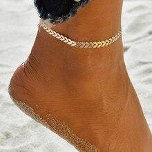 Bohemio dorado flecha pierna pulsera para mujeres Vintage Yoga playa tobillera sandalias de verano estilo novias zapatos descalzos A1