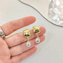 Vintage Punk Earrings Fashion 925 Silver Needle Pearl Drop Earrings For Women Korea New Gold Color Metal Earrings Jewelry Gifts