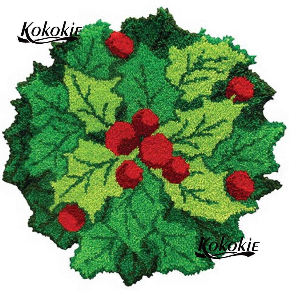 Diy かぎ針用 foamiran 工芸品ラッチフック敷物タペストリーキットプリントクリスマス花刺繍アクセサリー