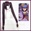 Genshin ударопрочный Косплей Мона парик длинные прямые двойные хвосты челки темно-фиолетовые термостойкие волосы для взрослых Хэллоуин ролев...