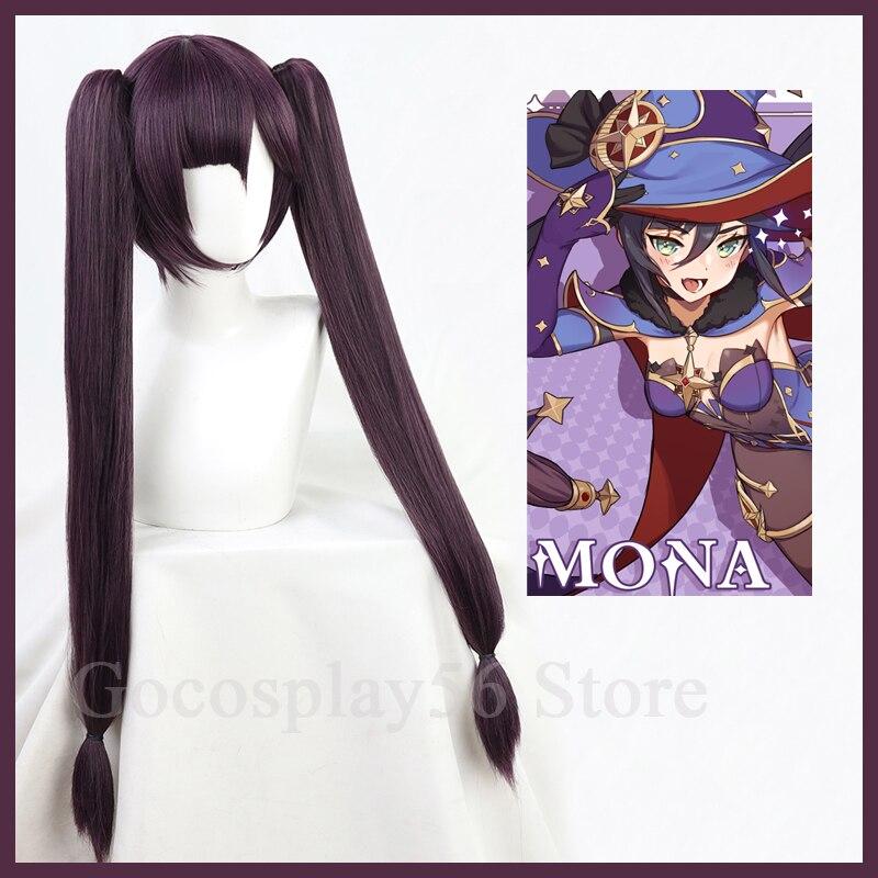 Genshin ударопрочный Косплей Мона парик длинные прямые двойные хвосты челки темно фиолетовые термостойкие волосы для взрослых Хэллоуин ролевые игры| |   | АлиЭкспресс