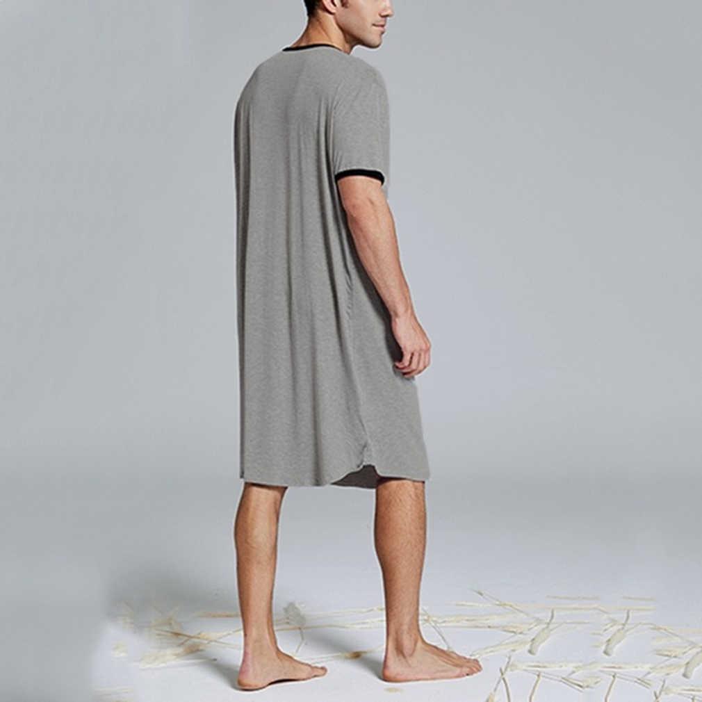 男性のナイトシャツセット夏ルースレジャー弾性ウエスト男性パジャマ綿男性の半袖ナイトウェア半袖トップ