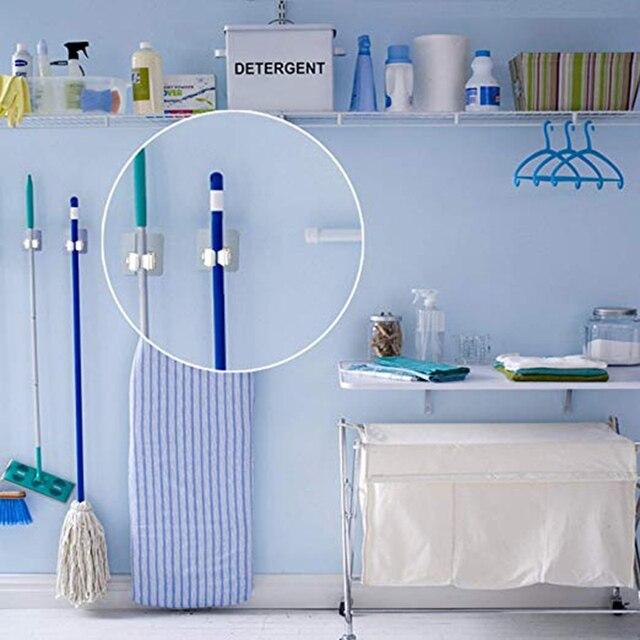 Support de rangement pour vadrouille et ventouse | Montage mural sans couture, support de ventouse multifonction, support de rangement de balai, crochet de cuisine