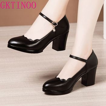 цена на GKTINOO 2020 Women Pumps Comfortable Leather High Heel Shoes Women Round Toe Casual Thick Heels Office Shoes Black White