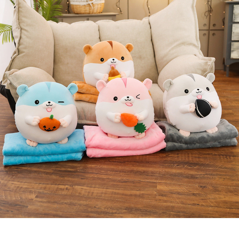 2 in 1 Cute Baby Hamster Throw Pillow With Blanket Kids Animals Stuffed Dolls Soft Plush Sofa Car Back Cuhsion Blue, L