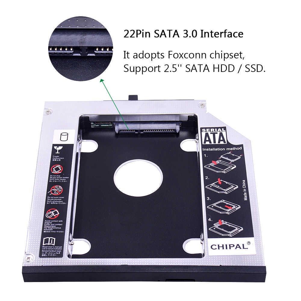 CHIPAL אלומיניום 2nd HDD Caddy 12.7mm SATA 3.0 עבור 2.5 ''SSD מקרה HDD מארז עבור Lenovo ThinkPad T420 t430 T520 T530 DVD-ROM