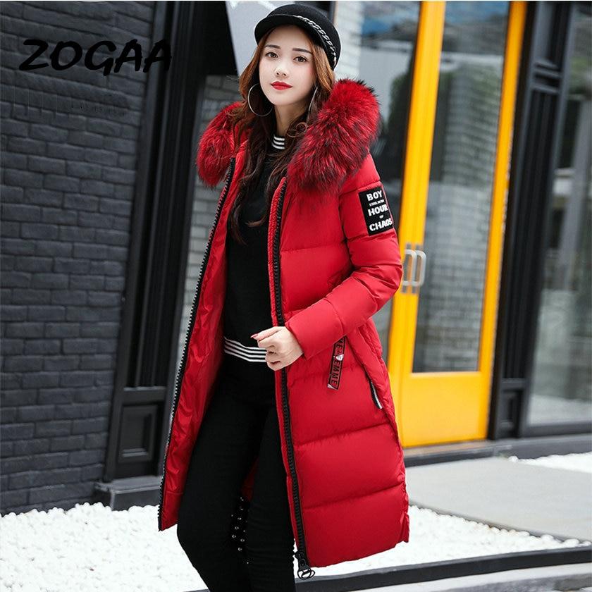 Winter Women's Down   Parkas   Winter Jacket Big Fur Thick Slim Long Coat Fashion Zipper Hooded Female Long Outerwear C88023L
