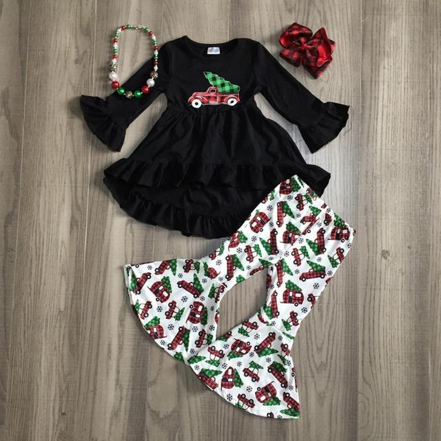 Girlymax Baby Girls Winter Christmas Truck Tree Pants Sets Cotton Boutique Ruffles Bell-bottoms Pants Children Match Accessories 1