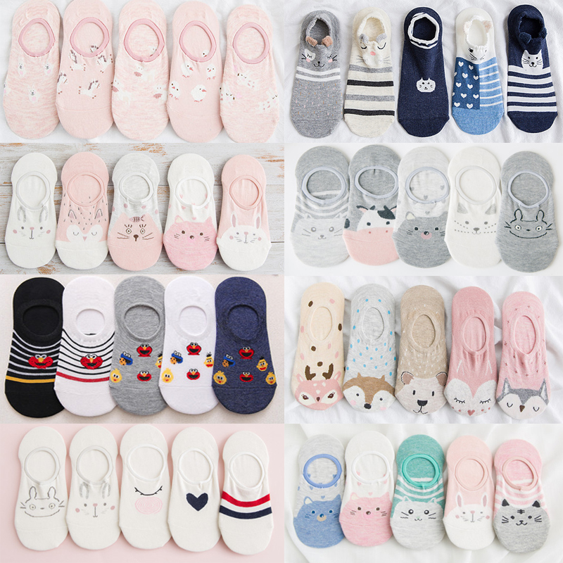 5 Pairs Cotton Women's Slipper Casual Funny Korea Cute Cat Fox Lovely Kawaii Cartoon Harajuku Boat Ankle Sock For Female Summer
