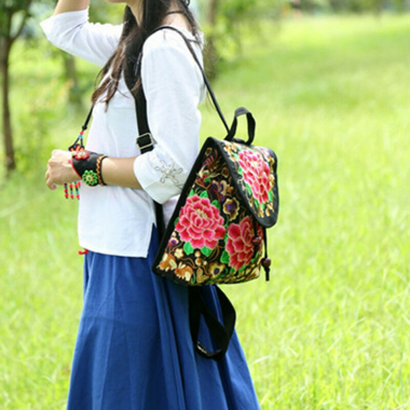 2020 Ethnic Style Embroidery Backpack Travel Bag Florals Embroidered Women Backpack Rucksack Daypack Travel Purse Shoulder Bag