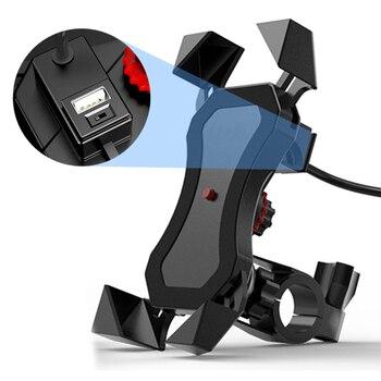 Soporte de montaje para teléfono móvil de motocicleta con USB cargador rápido 2.1A rotación de 360 grados para Moto 4-6 pulgadas para Huawei Xiaomi