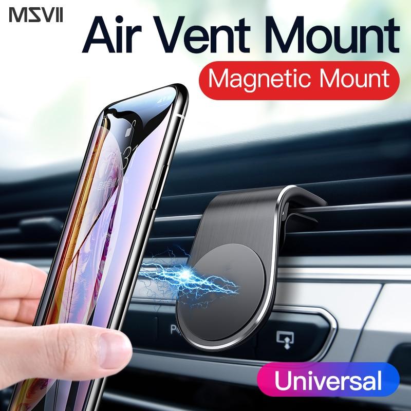 Msvii Car Phone Holder Magnetic Windshield  L Shape Car Phone Holder Air Vent Mount Stand Magnet Mobile Holder Window For IPhone