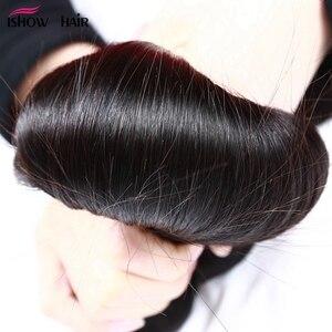 Image 4 - Ishow mechones de pelo liso con cierre, cierre de encaje transparente con mechones, mechones de cabello humano brasileño, postizo, mechones con cierre