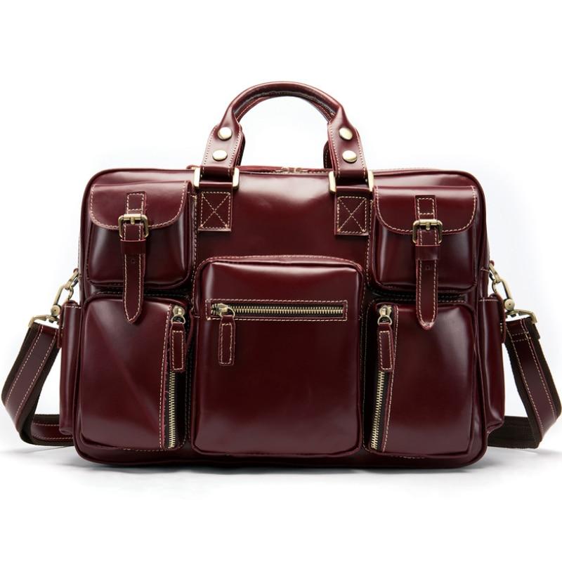 Luufan New Fashion Multifunction Leather Briefcase Cowskin Mens Laptop Bag Daily Shoulder Bag Commuter Bag Leather Messenger Bag