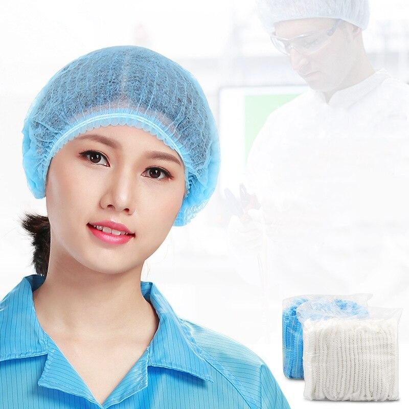 100 Pcs Disposable Non-woven Cap Thick Medical Surgical Dust-proof Strip Hat Cap Hood Beauty Salon Cap Protection Mushroom Cap