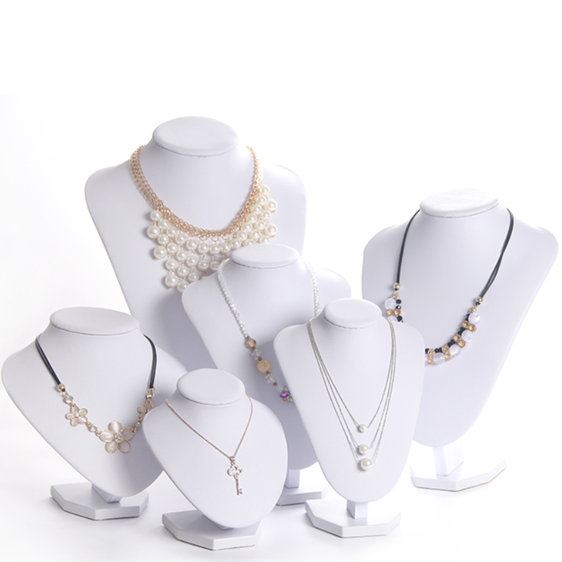 Model Bust Show Exhibitor 6 Options PU White Leather  Jewelry Display Woman Necklaces Pendants Mannequin Jewelry Stand Organizer