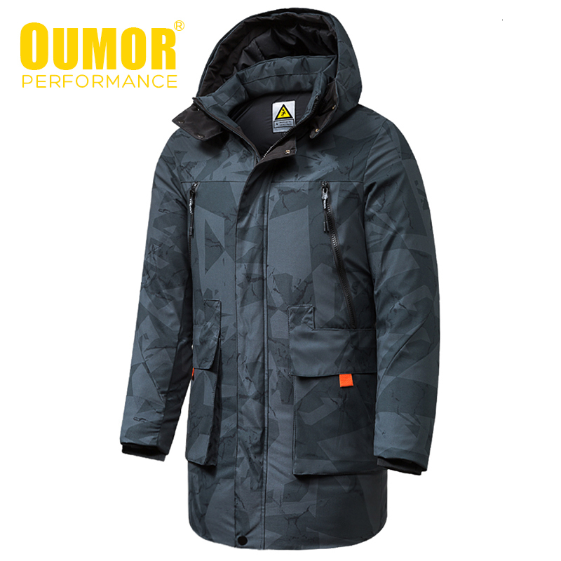 Oumor 8XL Men Winter New Long Casual Camouflage Hood Jacket Parkas Coat Men Outdoor Fashion Warm Thick Pockets Parkas Trench Men