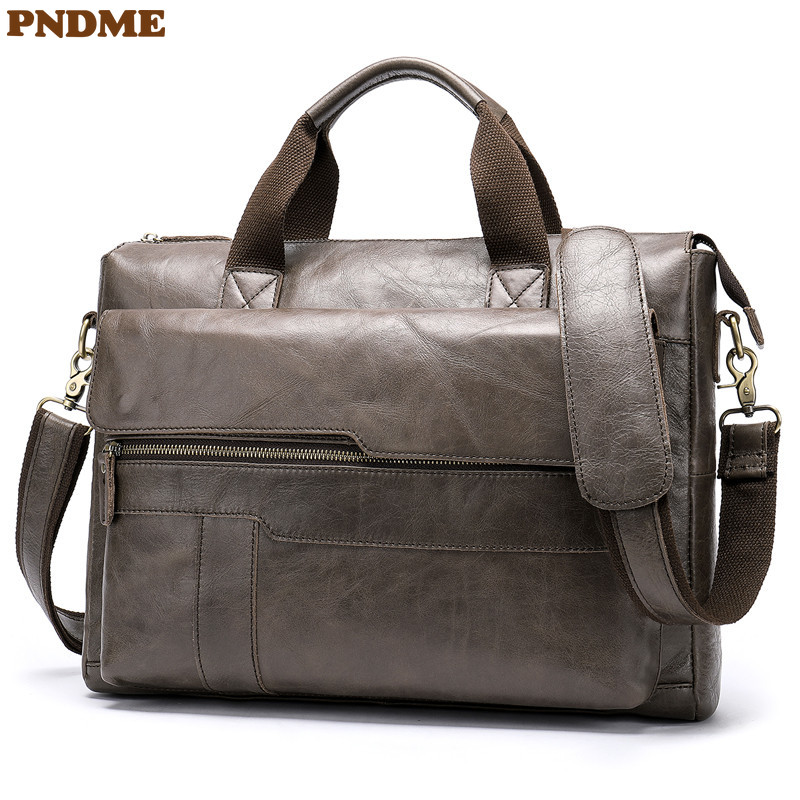 PNDME Genuine Leather Men's Briefcase Casual Simple Cowhide Messenger Bags Business Vintage Lawyer Laptop Shoulder Bag Work Bag
