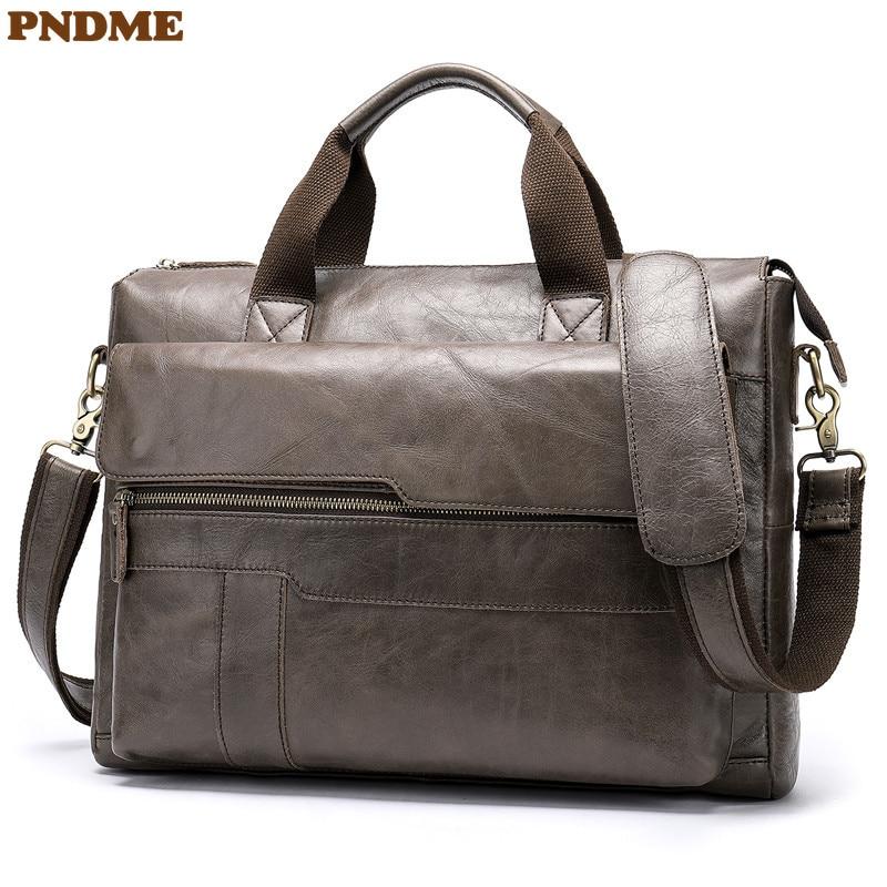 PNDME Genuine Leather Men's Briefcase Casual Simple Cowhide Messenger Bags Business Vintage Lawyer Laptop Shoulder Bag Work Bag