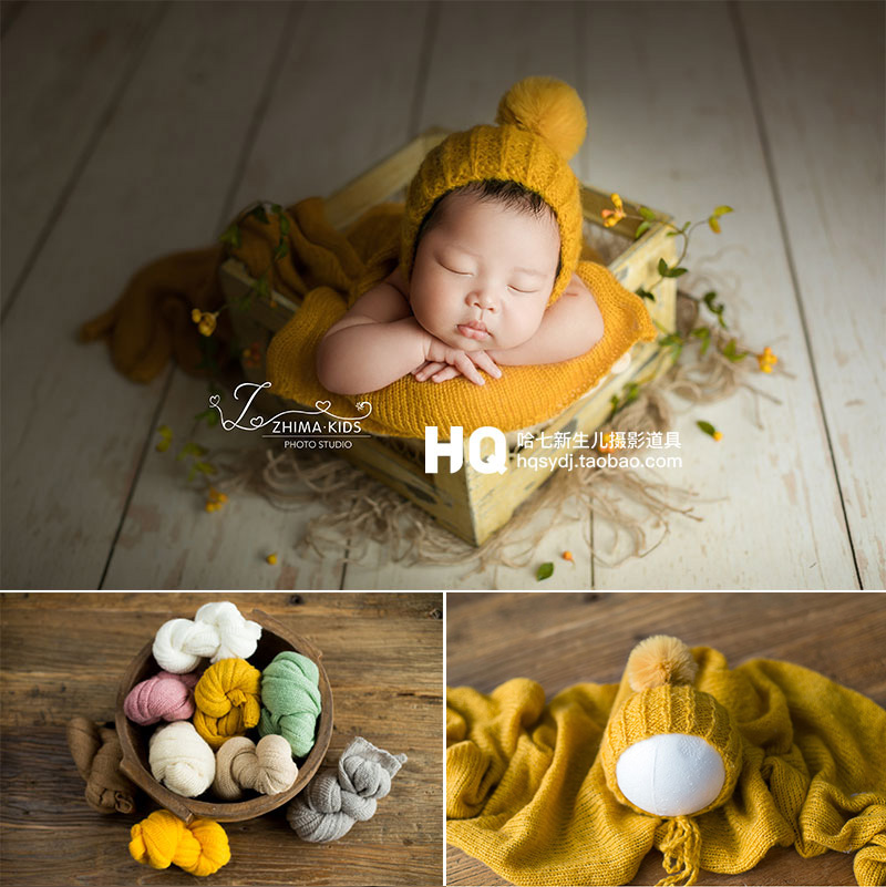 Green Newborn Photography Mat and Baby Headband Long Ripple Wraps DIY Wrap Blanket for Baby Boys and Girls Shower Gift HelloCreate Baby Photo Props