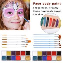 Face Body Art Painting Kit Paint Clown Party Color Body Face Painted Make Up Flash Tattoo Brush Halloween Party Fancy Dress Set все цены