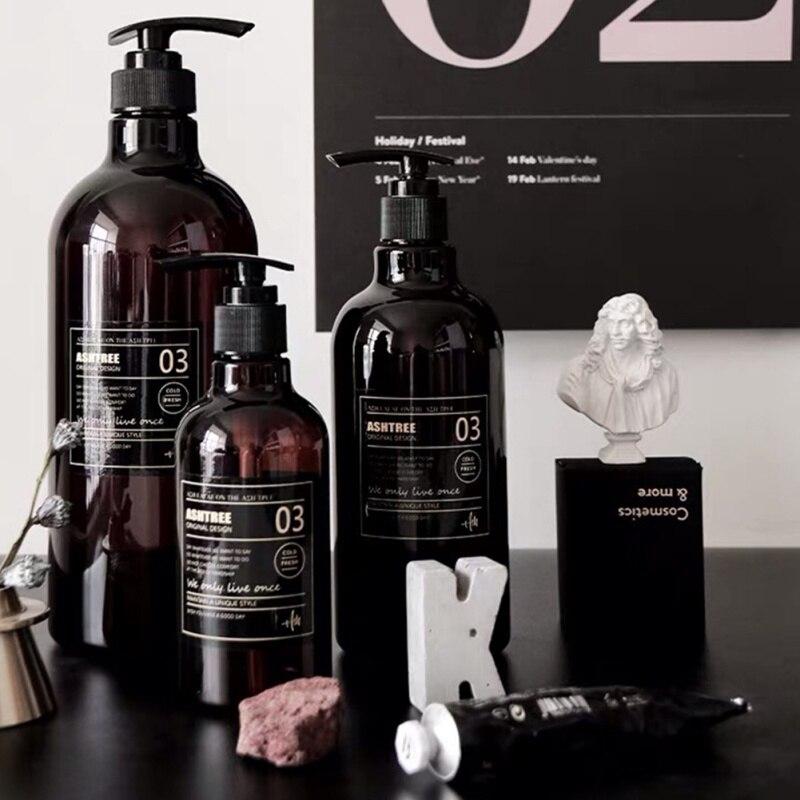 250/500ML Nordic Stil Dusche Gel Nachfüllbare Flasche Braun Bad Shampoo Seife Presse Flasche Waschraum Refill Lagerung Hause hotel 2