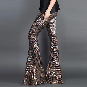 Image 3 - סקסי שחור Sequines רחב רגל ארוך מכנסיים נשים חדש גבוהה מותן מסיבת מועדון חג המולד מכנסיים מכנסיים תלבושת Streetwear התלקח מכנסיים