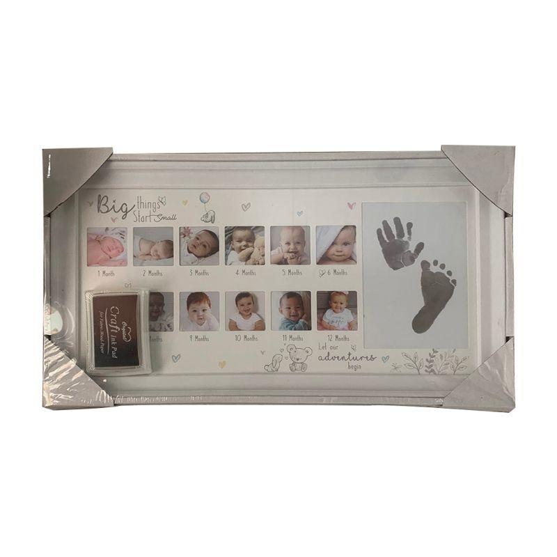 Baby 12 Months Hand Foot Print Commemorative Photo Frame Newborn Growth Record U50F