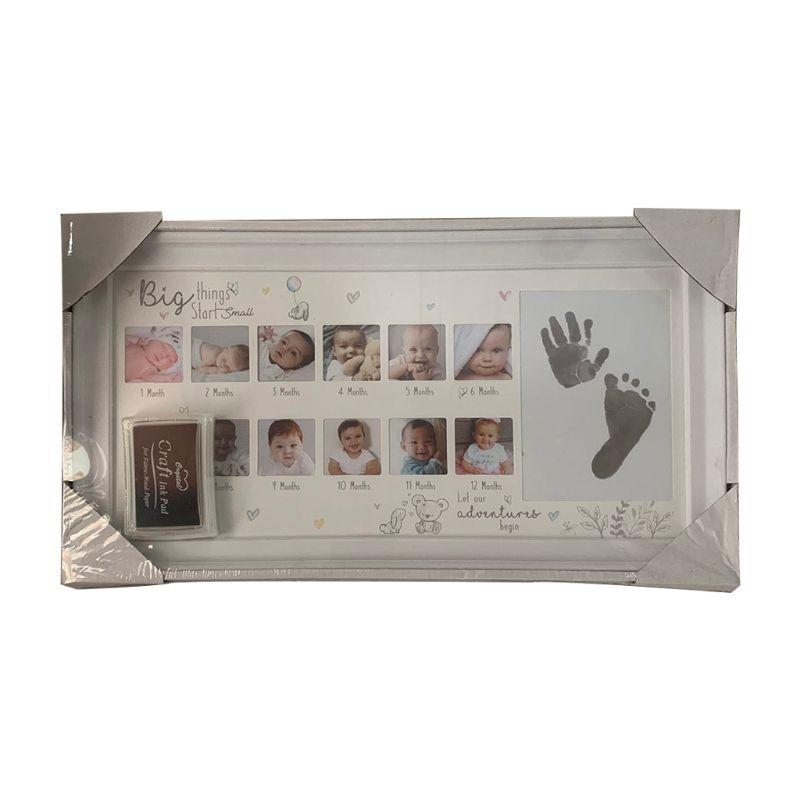 Baby 12 Months Hand Foot Print Commemorative Photo Frame Newborn Growth Record U50F